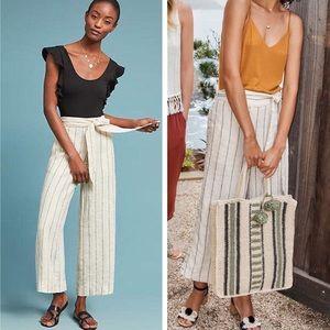 Anthropologie | Portia Linen Wide Leg Stripe Pants